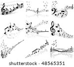 musical notes staff background...   Shutterstock . vector #48565351