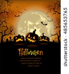 halloween background with scary ... | Shutterstock .eps vector #485653765