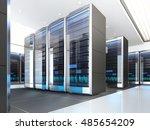 high tech interior of server... | Shutterstock . vector #485654209