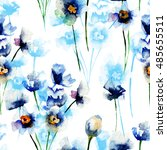 seamless pattern with blue... | Shutterstock . vector #485655511