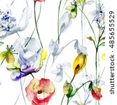 seamless wallpaper with flowers ...   Shutterstock . vector #485655529