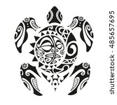 turtle tattoo in maori style.... | Shutterstock .eps vector #485657695