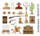 wild west decorative elements... | Shutterstock .eps vector #485659747