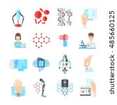nanotechnology flat icons set... | Shutterstock .eps vector #485660125