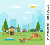 childrens playground at park... | Shutterstock .eps vector #485660131