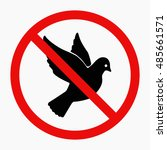 dove of peace. black and white. ... | Shutterstock . vector #485661571