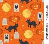 halloween concept seamless... | Shutterstock .eps vector #485668681
