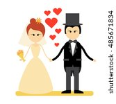 cartoon marriage couple fiance... | Shutterstock .eps vector #485671834