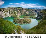 Meanders at rocky river Uvac gorge on sunny day, southwest Serbia