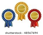 award rosette medal set. vector ... | Shutterstock .eps vector #48567694