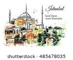 vector hand drawn watercolor... | Shutterstock .eps vector #485678035