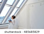 beauty bride in bridal gown... | Shutterstock . vector #485685829
