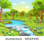 water spring in the forest | Shutterstock .eps vector #48569440
