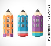 set of colorful pencil houses.... | Shutterstock .eps vector #485697481
