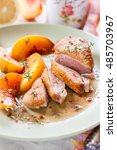 roast duck breast with peaches | Shutterstock . vector #485703967