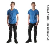 cute teenager boy in blue t... | Shutterstock . vector #485719591