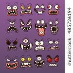 cartoon scary and funny monster ... | Shutterstock .eps vector #485726194