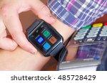 closeup arm wrist wearing smart ... | Shutterstock . vector #485728429