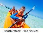 kids enjoying paddling in...   Shutterstock . vector #485728921