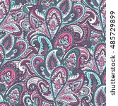 indian floral paisley medallion ... | Shutterstock .eps vector #485729899