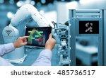 industry 4.0 concept . man hand ... | Shutterstock . vector #485736517