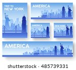 set of usa landscape country... | Shutterstock .eps vector #485739331
