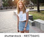 young woman with long hair... | Shutterstock . vector #485756641