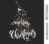 vector christmas hand lettering ... | Shutterstock .eps vector #485766061