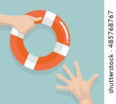 drowning people getting... | Shutterstock .eps vector #485768767
