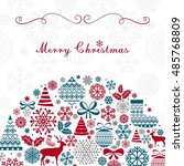 christmas greeting card.... | Shutterstock .eps vector #485768809