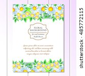 invitation with floral... | Shutterstock . vector #485772115