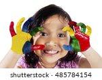 close up of a cute little girl... | Shutterstock . vector #485784154