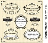 vintage frames design set on... | Shutterstock .eps vector #485794441