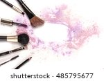 makeup brushes  lip gloss and... | Shutterstock . vector #485795677