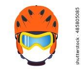 ski helmet  snowboard glasses ... | Shutterstock .eps vector #485805085