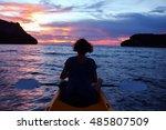 women looking sunset on...   Shutterstock . vector #485807509