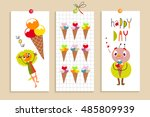 set of creative cards with...