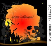 vector happy halloween... | Shutterstock .eps vector #485811709