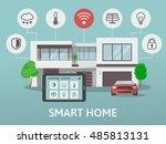 modern smart home. flat design...   Shutterstock .eps vector #485813131