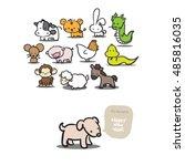 twelve cartoon chinese japanese ... | Shutterstock . vector #485816035