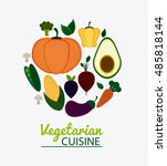 vegetarian cuisine organic and... | Shutterstock .eps vector #485818144