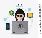data protection and cyber... | Shutterstock .eps vector #485818525