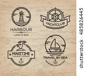 travel by sea. set of maritime... | Shutterstock .eps vector #485826445