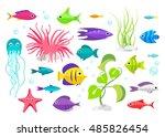 cartoon fish collection set | Shutterstock .eps vector #485826454