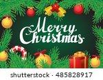 merry christmas hand lettering...   Shutterstock .eps vector #485828917