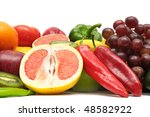 fruits and vegetables isolated... | Shutterstock . vector #48582922