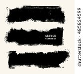 vector set of black brush... | Shutterstock .eps vector #485834599