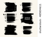 vector set of black brush... | Shutterstock .eps vector #485834611