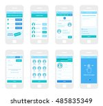 mobile app wireframe ui kit.... | Shutterstock .eps vector #485835349