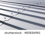 gray corrugated metal cladding... | Shutterstock . vector #485836981
